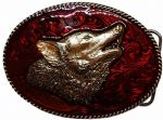 Howling Wolf Gold Plated Belt Buckle with display stand. Code MD5